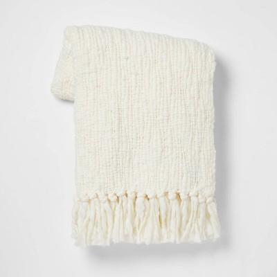 Chunky Woven Throw Blanket Cream - Threshold™