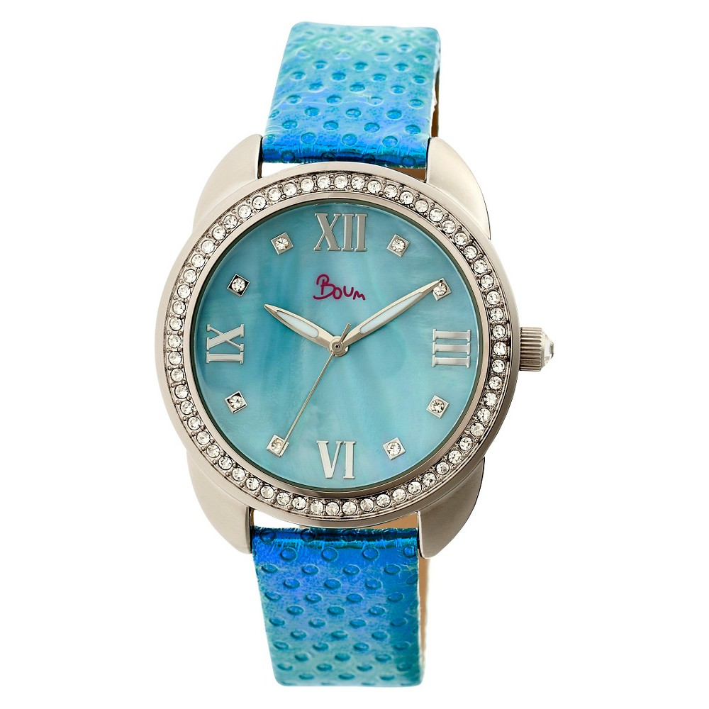 Women's Boum Forte Watch With Mother-of-Pearl Dial and Chameleon Color Changing Genuine Leather Strap-Silver/Blue
