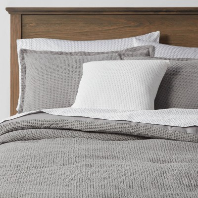 Full Waffle Weave 8pc Comforter & Sheet Bundle Gray - Threshold™