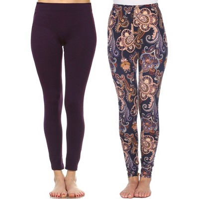Women's Pack of 2 Leggings - One Size Fits Most - White Mark