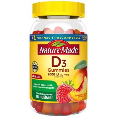 Nature Made Vitamin D3 2000 IU (50 mcg) Gummies - Strawberry, Peach & Mango - 150ct