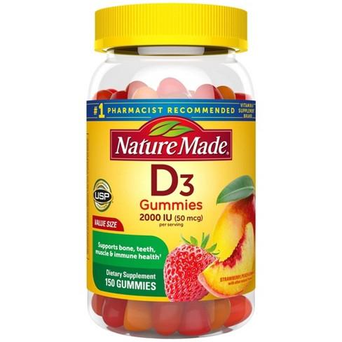 Nature Made Vitamin D3 2000 IU (50 mcg) Gummies - Strawberry, Peach & Mango - 150ct - image 1 of 4