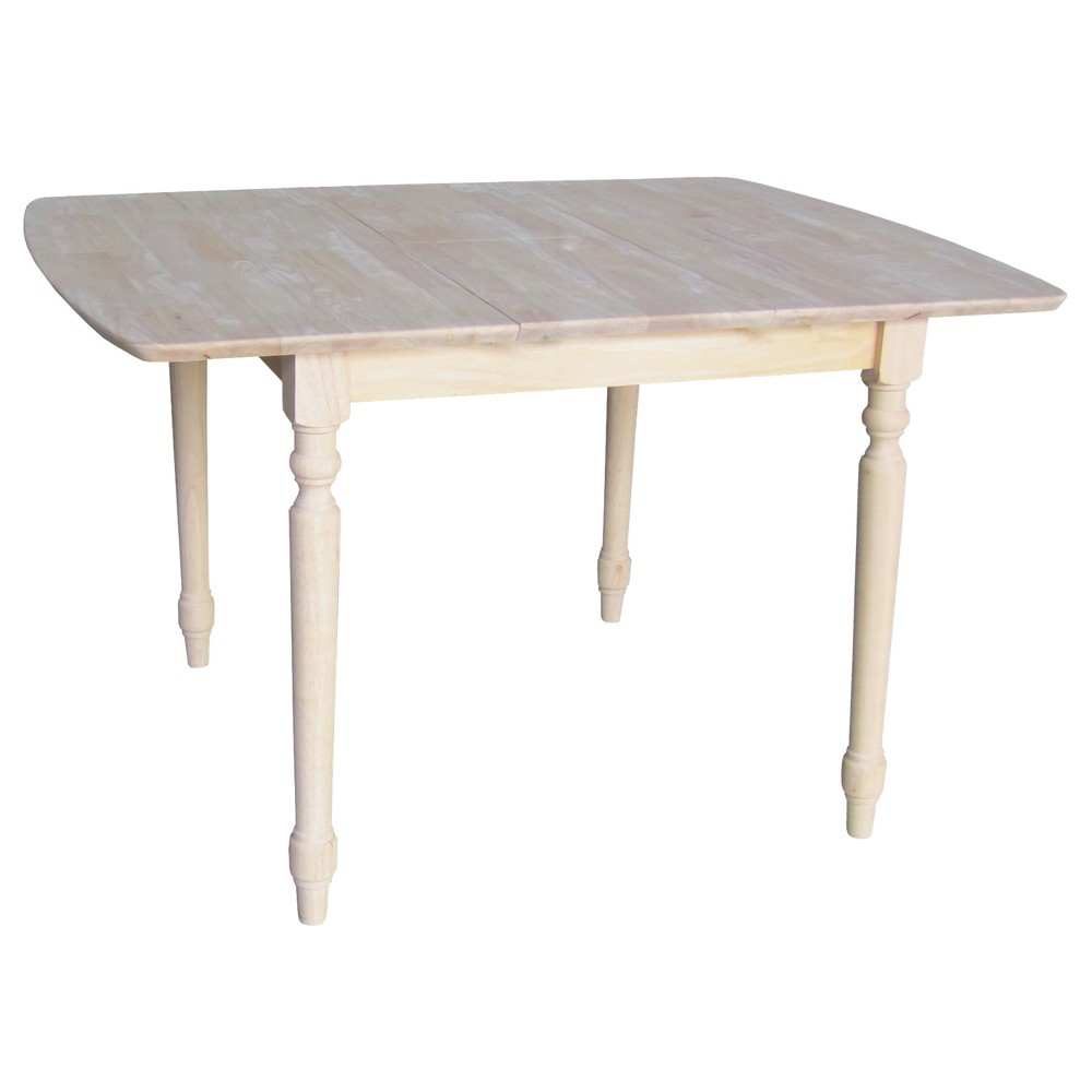 """Image of """"30"""""""" Table with Butterfly Extension and Turned Styled Legs Unfinished - International Concepts, Brown"""""""