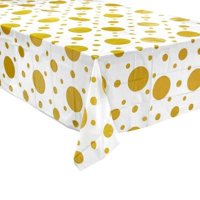 """Juvale 6 Pack Disposable Plastic Tablecloth Table Covers Birthday Party Supplies, White & Gold 54x108"""""""