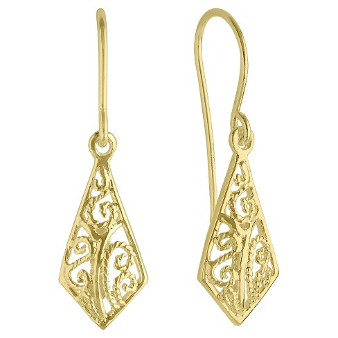 Women's Filigree Kite Shape Drop Earrings with 14K Gold Plating in Sterling Silver - Gold - image 1 of 1