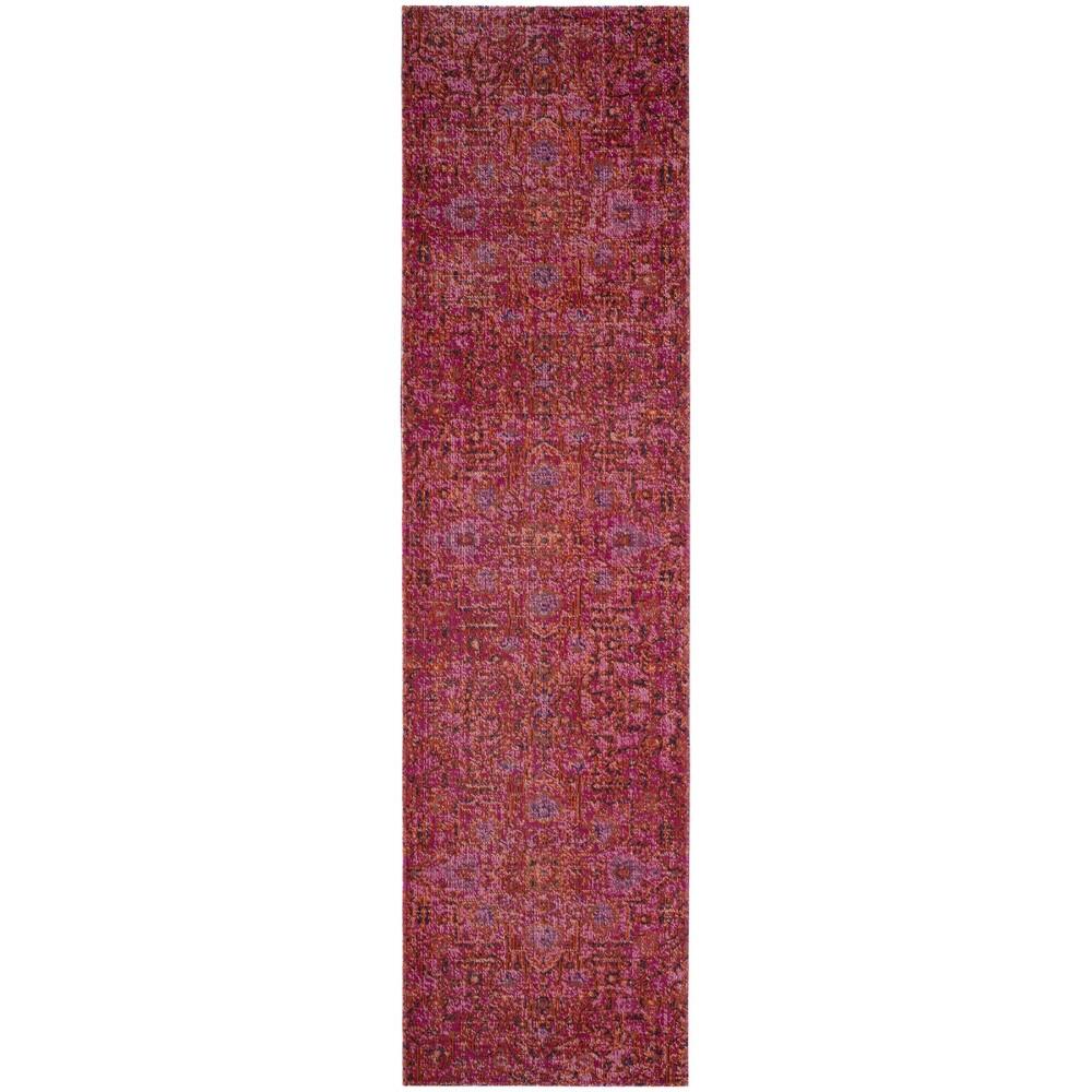 Fuchsia (Pink) Medallion Loomed Runner 2'2x8' - Safavieh