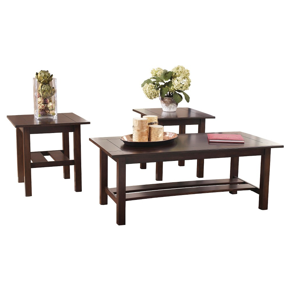 Lewis Occasional Table Set Medium Brown (Set of 3) - Signature Design by Ashley