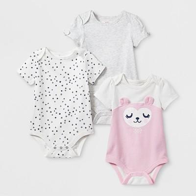 Baby Girls' 3pk Short Sleeve Bodysuit Set - Cat & Jack™ Light Pink/Gray 3-6M