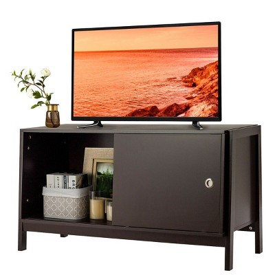 Costway TV Stand Modern Entertainment Cabinet for TV's up To 50'' with Sliding Doors