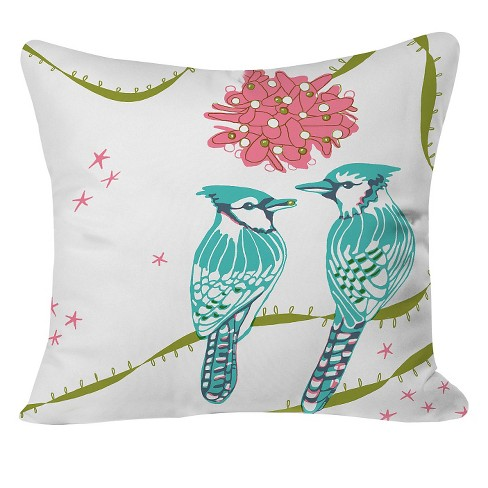 "Holiday Birds Throw Pillow Blue (20""x20"") - Deny Designs® - image 1 of 2"