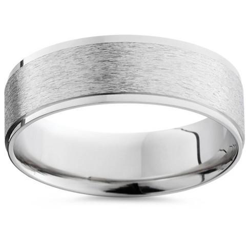 Polished Flat Titanium Wedding Band Ring Size 10