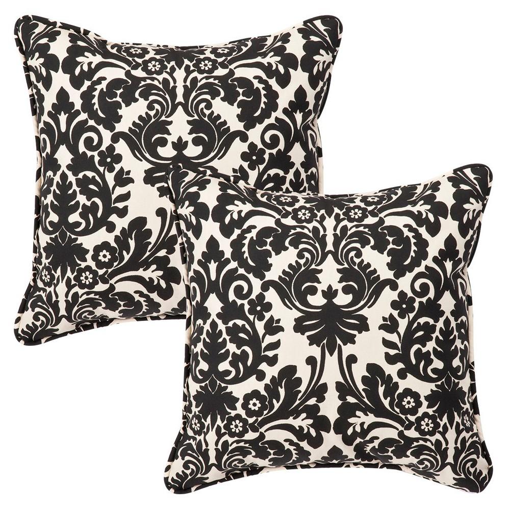 2 Piece Outdoor Square Pillow Set Black White Floral 18