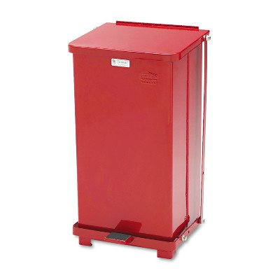 Rubbermaid Commercial Defenders Biohazard Step Can Square Steel 12gal Red ST12EPLRD