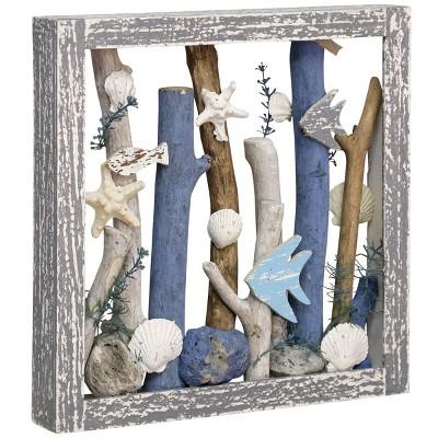 "14"" x 14"" Sea Dive Ocean Motif Wooden Shadow Box Table Top Wall Sculpture Gray - StyleCraft"