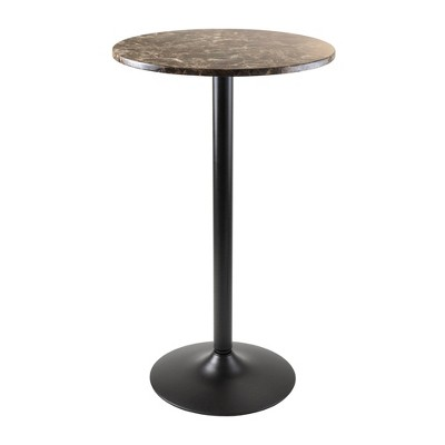 Cora Round Bar High Table Faux Marble Top Metal/Black - Winsome