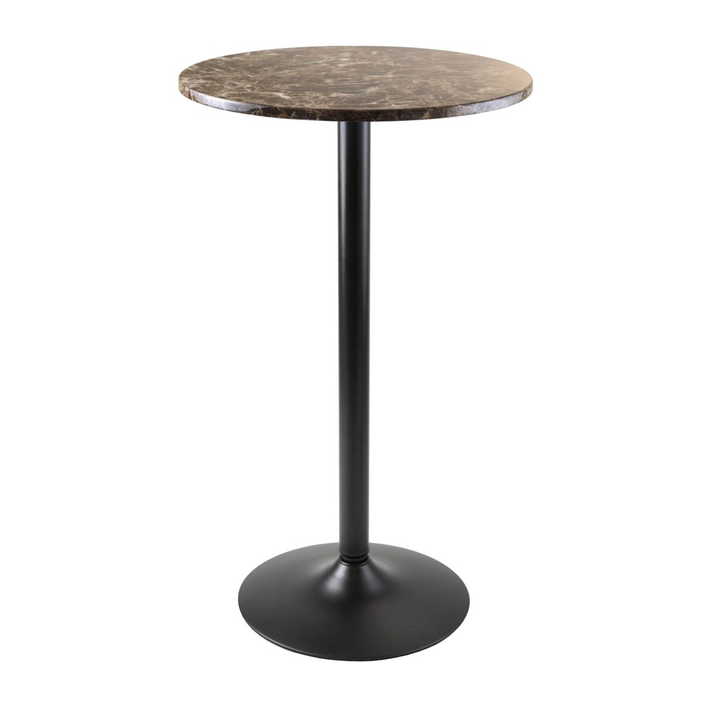 Image of Cora Round Bar High Table Faux Marble Top Metal/Black - Winsome
