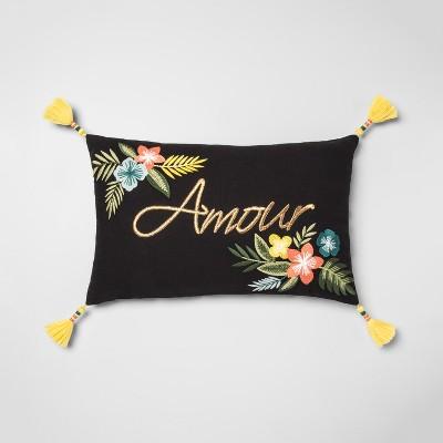 Floral Message Lumbar Throw Pillow Black - Opalhouse™