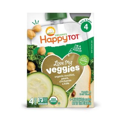 HappyTot Love My Veggies 4pk Organic Zucchini Pears Chickpeas & Kale - 16.88oz