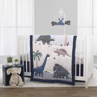 Little Love By Nojo Modern Roaming Woolly Mammoth and Dinosaurs Crib Bedding Set - 3pc