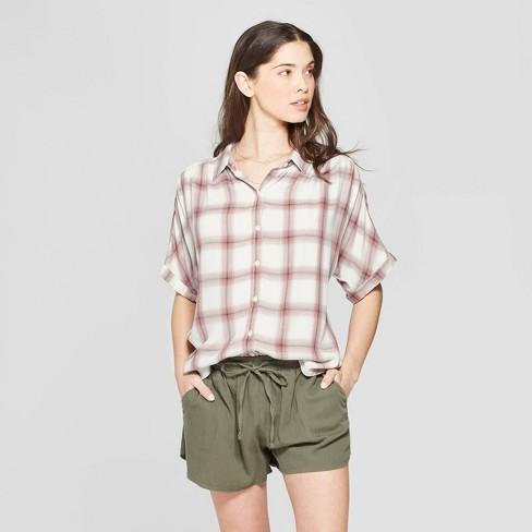 1a9a29d1317 Women s Plaid Short Sleeve Collared Camp Shirt - Universal Thread™ Pink    Target