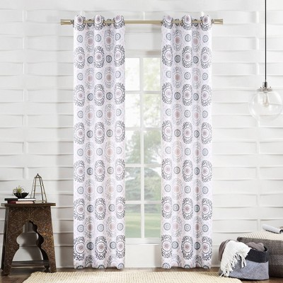 "84""x40"" Kaori Medallion Print Semi-Sheer Grommet Curtain Panel Blush - No.918"