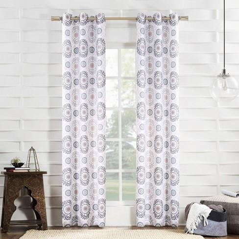 Semi Sheer Grommet Curtain Panel Blush
