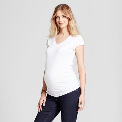 Maternity Shirred V-Neck T-Shirt - Isabel Maternity™ by Ingrid & Isabel® White XS