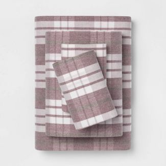 Queen Printed Pattern Flannel Sheet Set Purple Plaid - Threshold™
