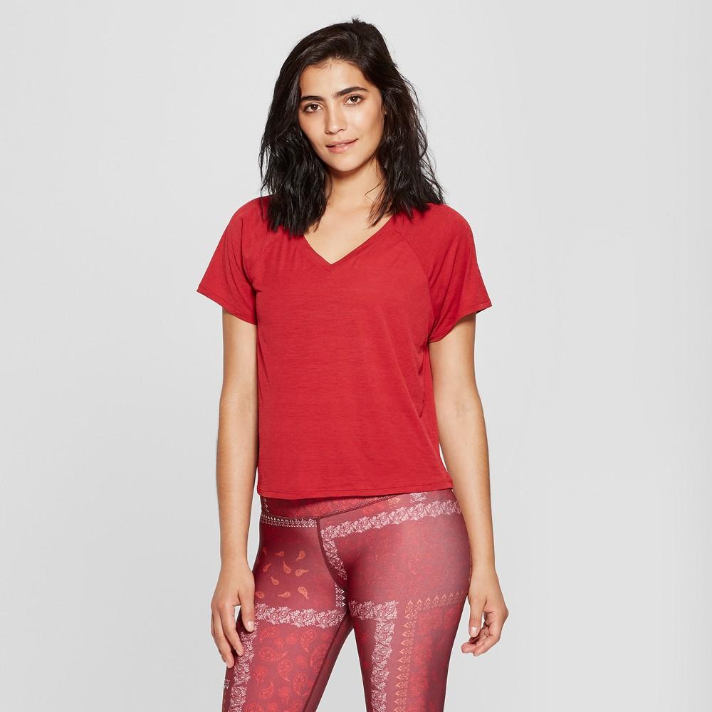 Women's Lightweight Active V-Neck T-Shirt - JoyLab Mulberry Red S