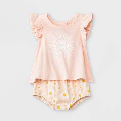 Grayson Mini Baby Girls' Daisy Split Back Top & Bottom Set - Pink 3-6M