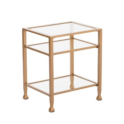 Jamel Metal/Glass End Table Gold - Aiden Lane