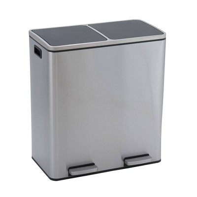 Household Essentials 30L Design Trend Recycle And Step Trash Can Stainless Steel