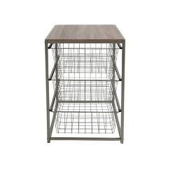 3 Drawer Closet Organizer With Rustic Oak Finish Top Gray Metal - Threshold™
