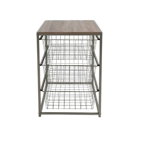 3 Drawer Closet Organizer With Rustic Oak Finish Top Gray Metal - Threshold™ - image 1 of 4