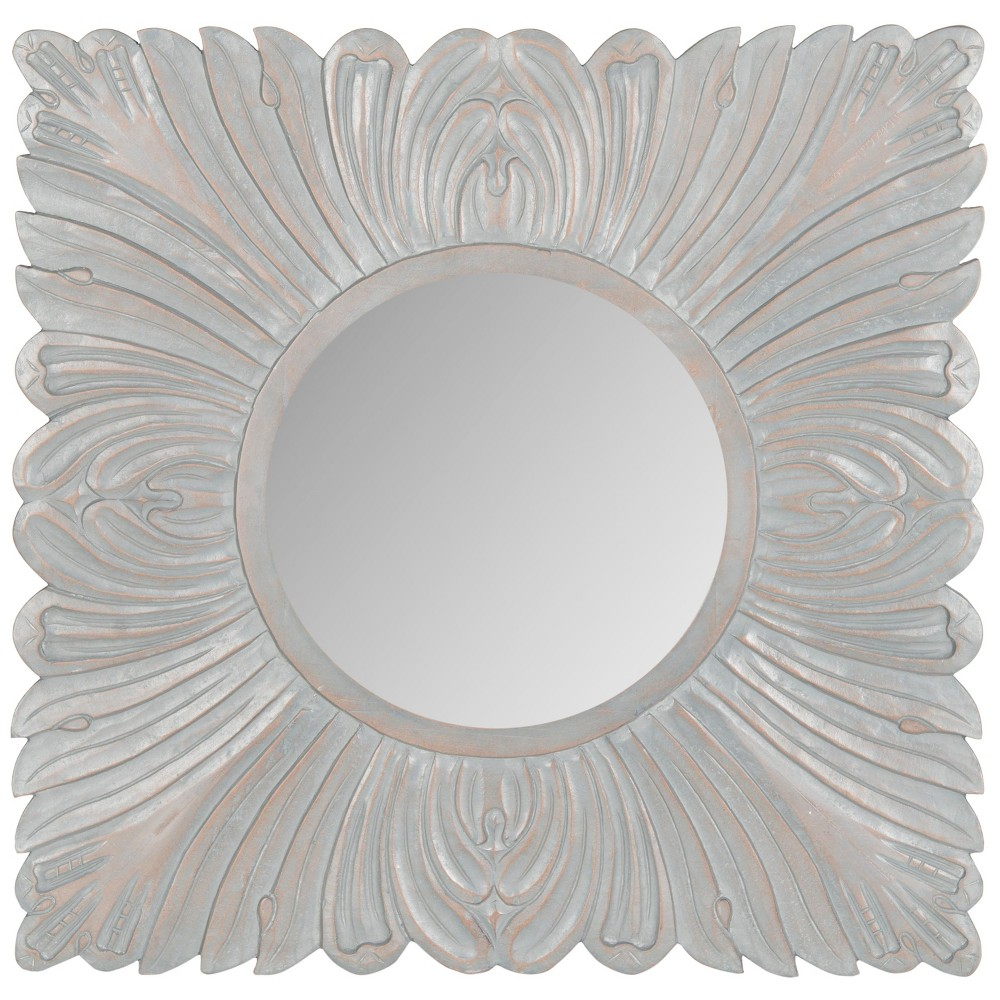 Round Acanthus Decorative Wall Mirror Gray - Safavieh