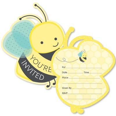 Big Dot of Happiness Honey Bee - Shaped Fill-in Invitations - Baby Shower or Birthday Party Invitation Cards with Envelopes - Set of 12