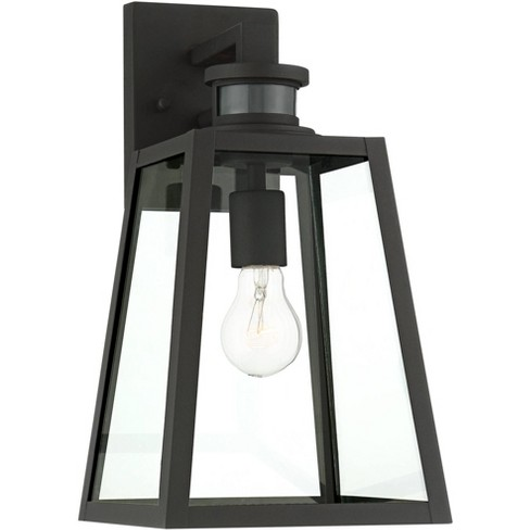 "John Timberland Modern Industrial Outdoor Wall Light Fixture Black 14 3/4"" Clear Glass Dusk to Dawn Motion Sensor for Porch Patio - image 1 of 4"