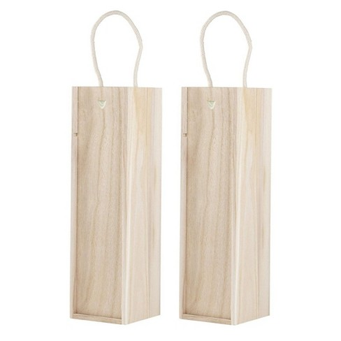 2-Pack Wooden Wine Boxes with Sliding Lid, Wood Storage Gift Box Holds Single Bottle with Handle Great for Carry Around, Parties, Wedding, Gifts Ideas - image 1 of 4