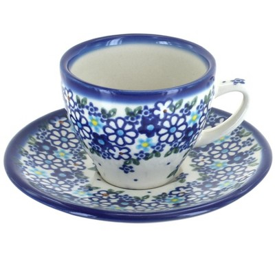 Blue Rose Polish Pottery Daisy Maze Tapered Espresso Cup & Saucer