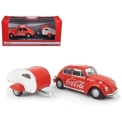 """1967 Volkswagen Beetle Red with Teardrop Travel Trailer Red and White """"Coca-Cola"""" 1/43 Diecast Model Car by Motorcity Classics"""