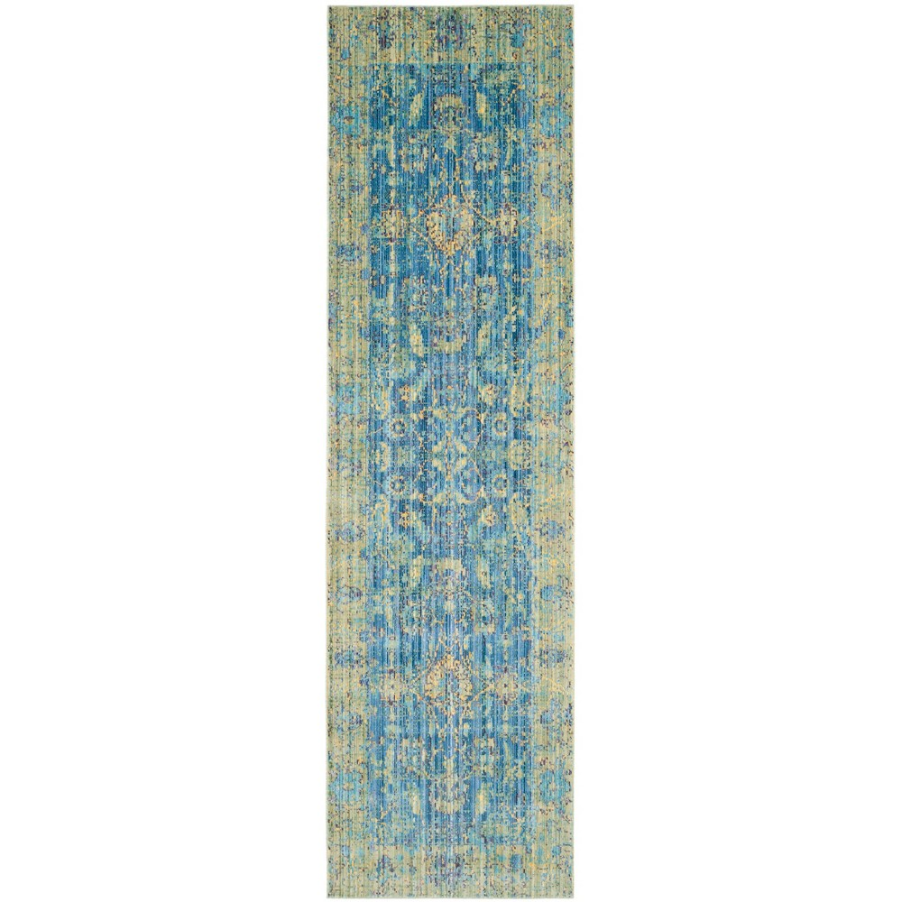 2'3X12' Loomed Floral Runner Rug Blue - Safavieh, Blue/Multi-Colored