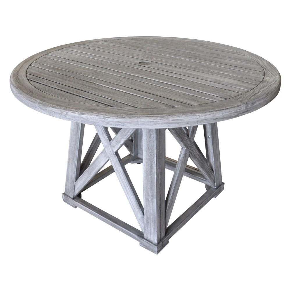 Teak Round Surf Side Outdoor Dining Table - Driftwood Gray - Courtyard Casual