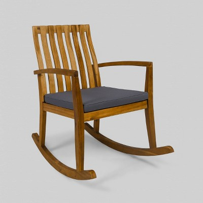 Colmena Acacia Wood Rustic Rocking Patio Chair Teak/Dark Gray - Christopher Knight Home