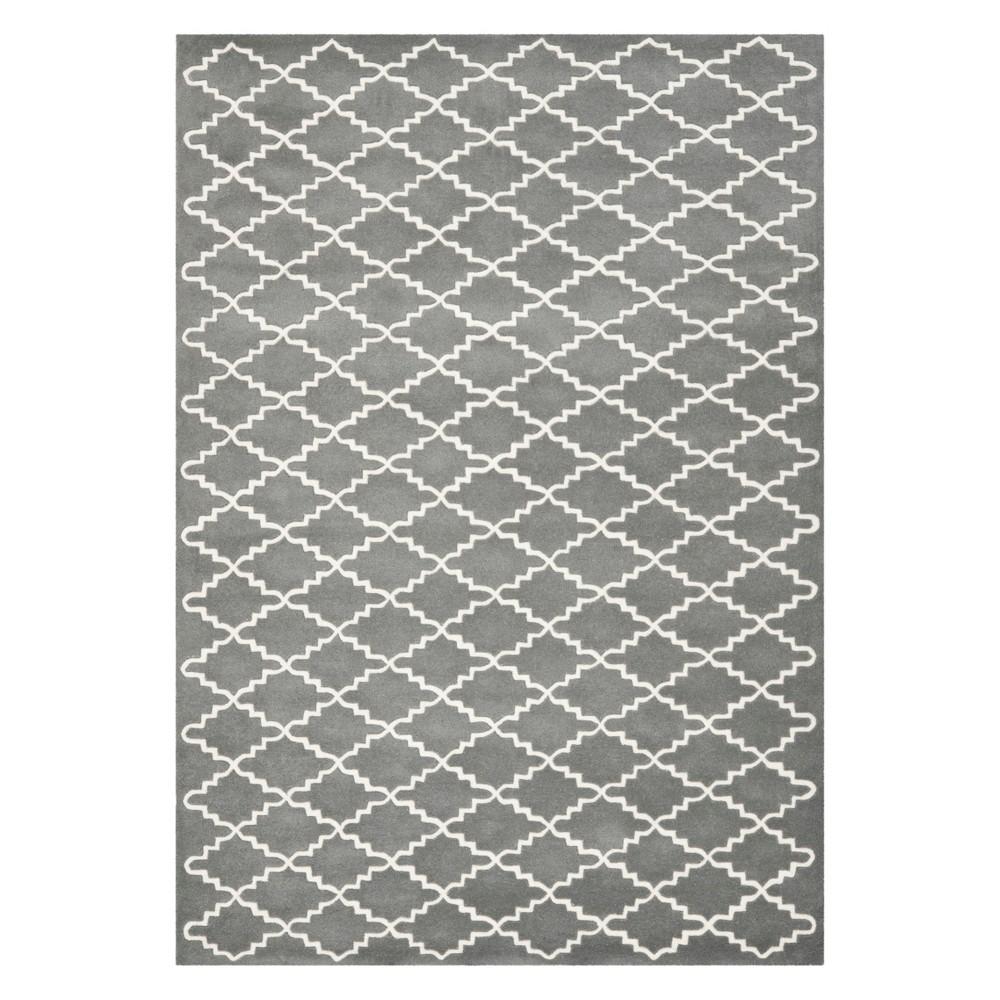 8'9X12' Quatrefoil Design Tufted Area Rug Dark Gray/Ivory - Safavieh