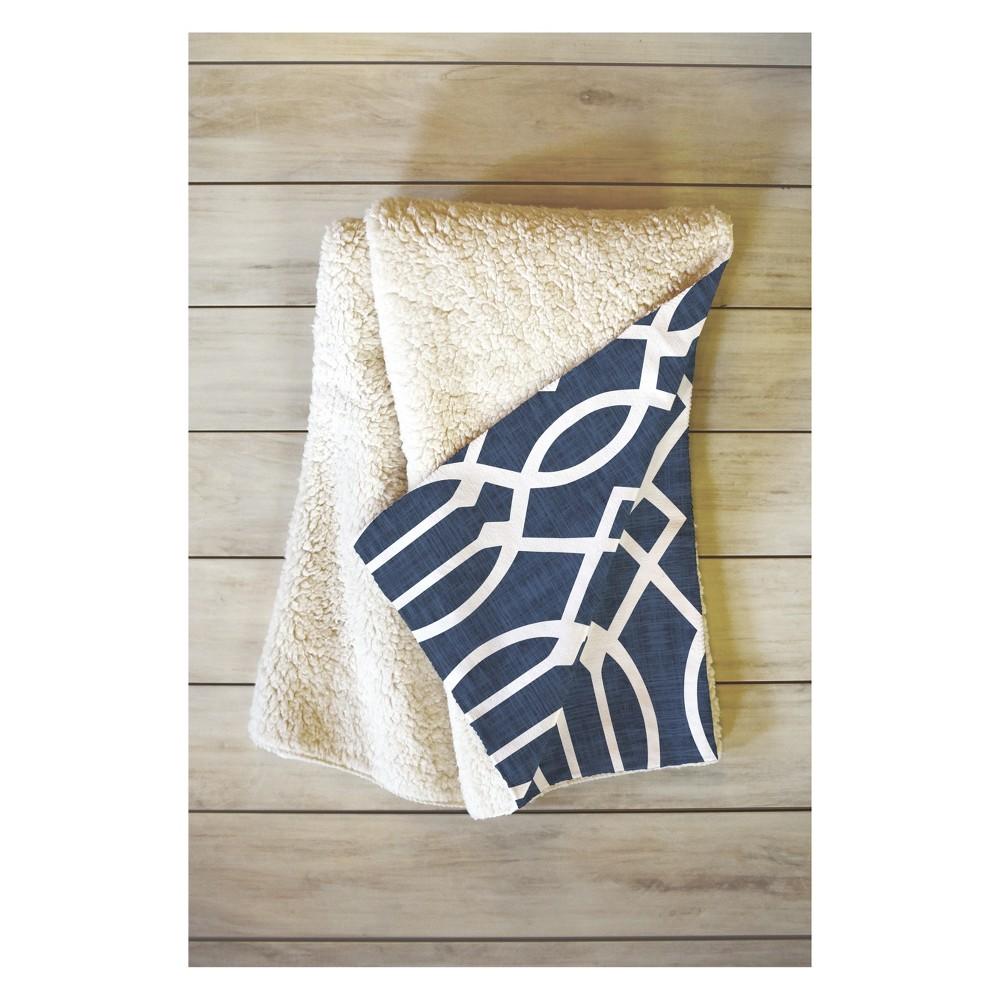 Image of 50''x60'' Caroline Okun Dark Linen Trellis Throw Blanket Blue - Deny Designs