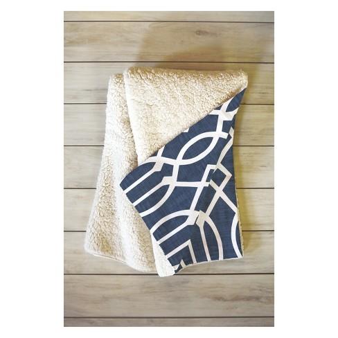 50''x60'' Caroline Okun Dark Linen Trellis Throw Blanket Blue - Deny Designs - image 1 of 2
