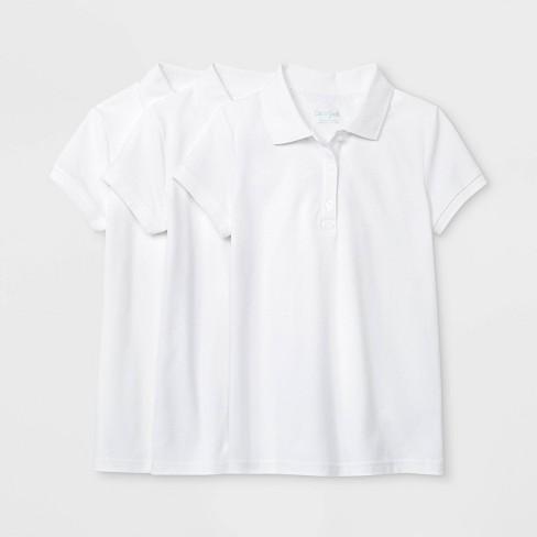 Girls' 3pk Short Sleeve Stretch Pique Uniform Polo Shirt - Cat & Jack™ - image 1 of 1