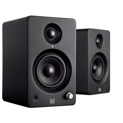 Monolith MM-3 Powered Multimedia Speakers - Black (Pair) With AptX Bluetooth, Fron Headphone Jack, Digital Calss D