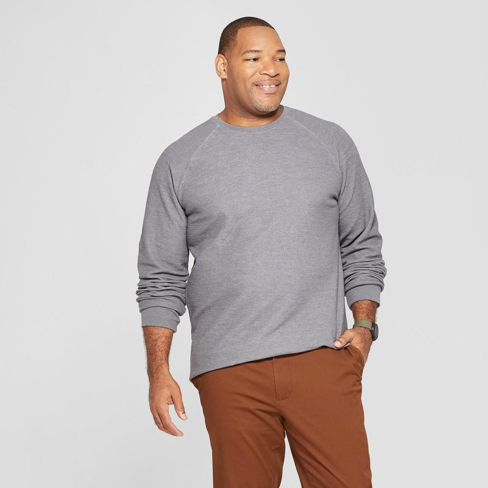 Men's Big & Tall Long Sleeve Textured Crew Neck Shirt - Goodfellow & Co Thundering Gray 5XB