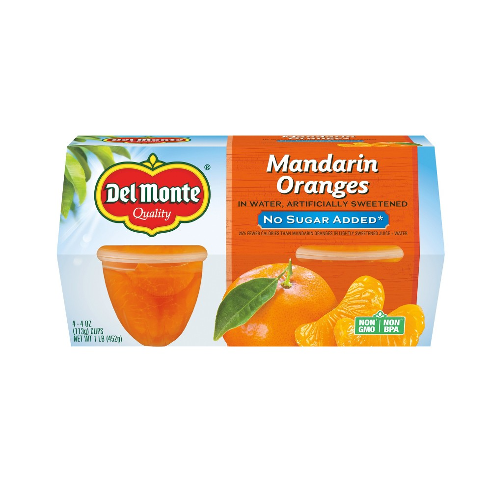 Del Monte No Sugar Added Mandarin Oranges In Artificially Sweetened Water Fruit Cups - 4ct